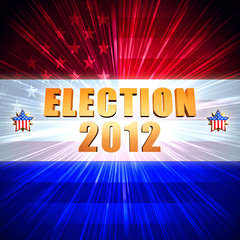 election and year 2012 with shining american flag and stars