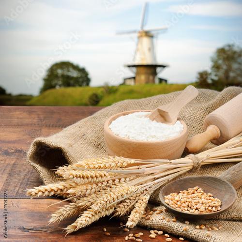 Fototapeta Organic ingredients for bread preparation