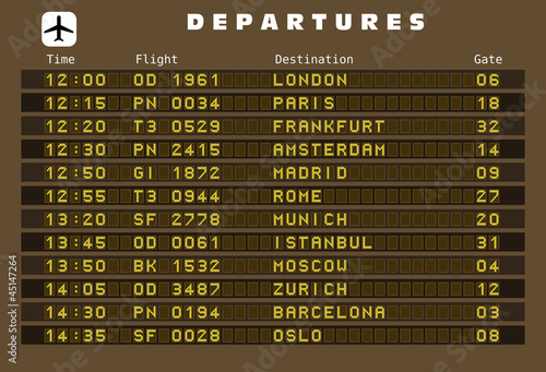 Departures board vector - Europe destinations