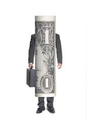 Exitoso hombre de negocios en forma de billete de dólar.