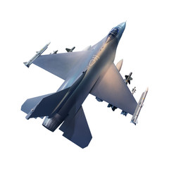 military jet plane isolated white