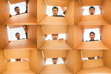 Young Male Model Multiple photo collage looking into a Box