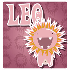 Zodica sign Leo with cute colorful monster, vector
