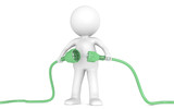 Sustainable Solution. 3D little human character holding Cable. poster