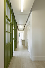 interior, office, long corridor with glass door