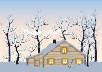 hut in winter forest