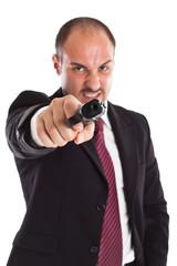 Furious businessman with a gun