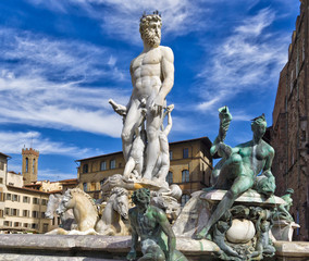 Florence Fountain of Neptune in the Piazza della Signoria
