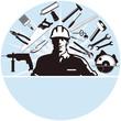 Handwerker Zeichen mit Werkzeug