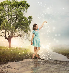 Little Girl at a Shining Brook