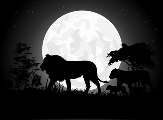Beautiful Lion family silhouettes with giant moon background