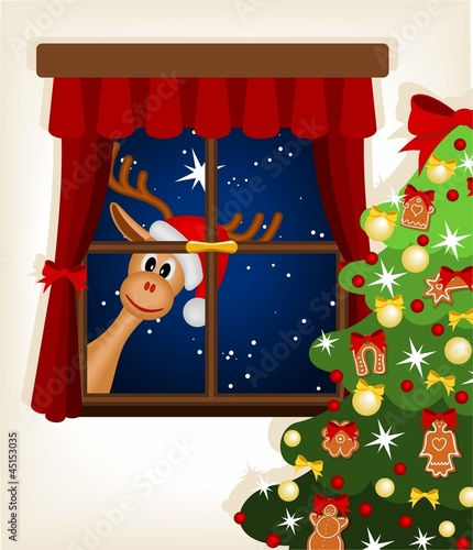 reindeer looking through window at christmas time