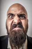 elegant bearded man with jacket and funny expressions - Fine Art prints