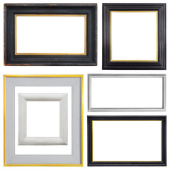 Set of gold vintage frame isolated on white background