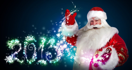 Santa Claus with 2013 new year number sign
