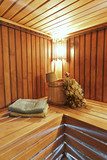 The interior of the sauna - bench, lamp, nobody, lamp
