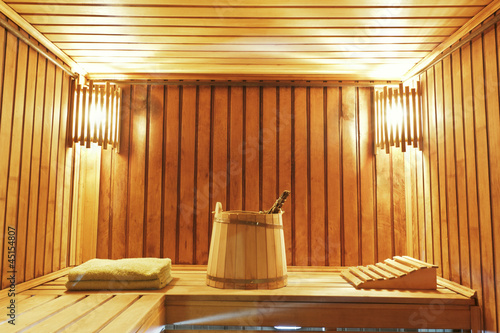 Interior of modern sauna cabin