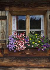 Blumenschmuck auf Almhütte