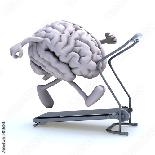 Leinwandbild Motiv human brain on a running machine
