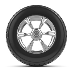 3d Front view of car wheel and tyre