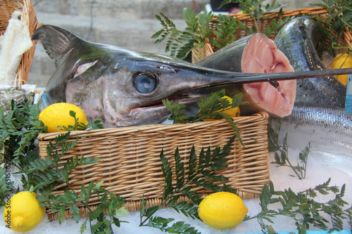 Keuken foto achterwand Boodschappen Swordfish at a French market