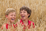 children in a wheat field