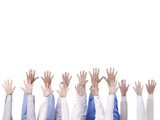 group of hand reaching to the top