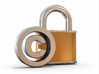 Sign of copyright with padlock on white background.