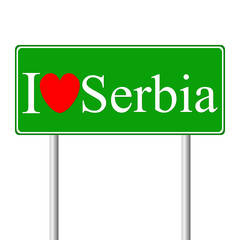 I love Serbia, concept road sign