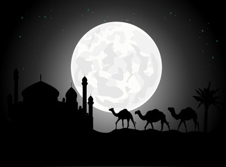 camel trip silhouettes with mosque and giant moon background
