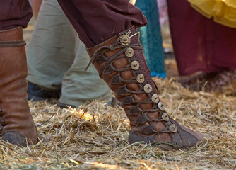 Fancy old world laced leather festival boots.