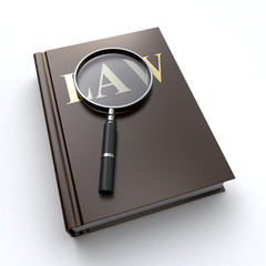 law book and a magnifier