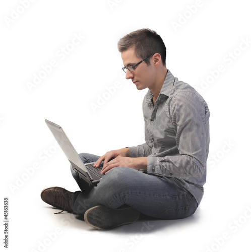 Young Man on the Computer