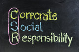 hand writing corporate social responsibility ( CSR )  poster
