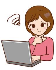 女性 / パソコン / トラブル
