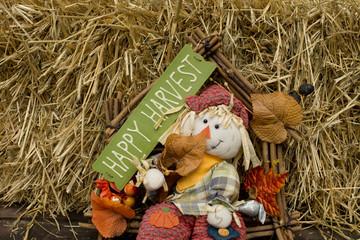 Pumpkins and scarecrow
