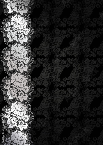 Silver flower background with lace, dark template