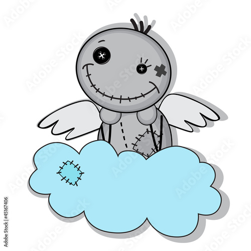Monster with wings on a cloud