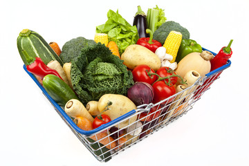 Shopping Basket Full of Vegetables