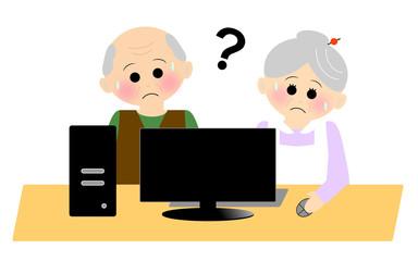パソコンをする老人