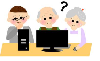 パソコンレッスンを受講する老人