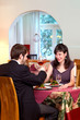 Happy Couple Enjoy Romantic Dinner