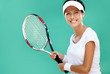 Woman in sportswear plays tennis at tournament