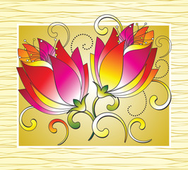 Fancy flowers for greeting card