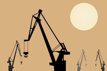Vector drawing. Cranes at sunset