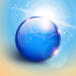Vector blue shiny sphere background.