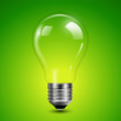 Light bulb transparent on green background