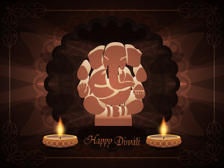 elegant background for diwali with beautiful ganesha and lamps.