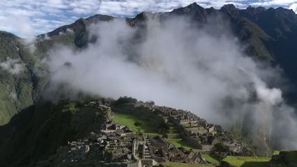 Machu Picchu with clouds, peru