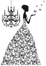 Kobieta z motylami, wektor